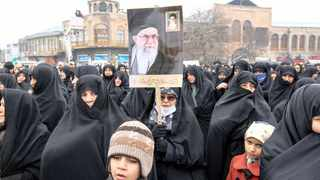 Iranian people attend the funeral procession and burial of four Iranian victims of the Ukrainian plane crash in Iran, in Hamadan, Iran, on January 16. File picture: Abdolrahman Rafati/Tasnim News Agency/WANA (West Asia News Agency) via Reuters