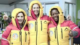 Lisa Gering, Alda Waddell and Tumi Mphahlele in their new down suits.    Zeke du Plessis