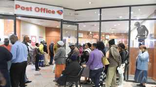 Sassa beneficiaries wait for their social grants at the Post Office. Picture: Itumeleng English African News Agency (ANA)