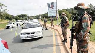 The SANDF man a roadblock in Durban yesterday to enforce compliance with Covid-19 disaster management regulations.      Picture: Motshwari Mofokeng African News Agency (ANA)