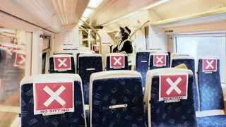 Seats on the Gautrain are marked to allow appropriate physical distancing. Picture: Jacques Naude/African News Agency (ANA)
