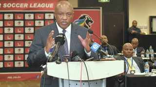 PSL chairman Irvin Khoza addresses a media briefing with the PSL's board of governors.    Sydney Mahlangu BackpagePix