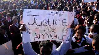 Teachers and pupils at Sinethemba High School in Philippi held a memorial for Amahle Quku, 17. Picture: Ayanda Ndamane/African News Agency
