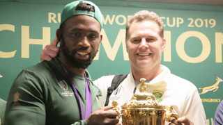 Siya Kolisi and Rassie Erasmus are all smiles during the 2019 Springboks arrival at the OR Tambo International Airport, Johannesburg. Picture: BackpagePix