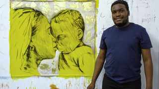 GREATJOY Ndlovu with his painting Kiss Me Fondly, which will be auctioned via the Operation Smile SA Facebook page. All proceeds will go to providing free reconstructive cleft lip and palate surgery to vulnerable children and adults.