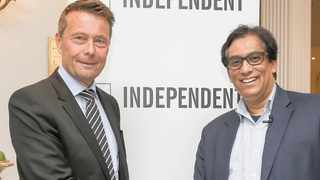 Tomas Brunegård, President of World Association of Newspapers and News Publishers (WAN-IFRA) and philanthropist and Sekunjalo Executive Chairman Dr Iqbal Survé. Picture: Leon Lestrade/ANA Pictures