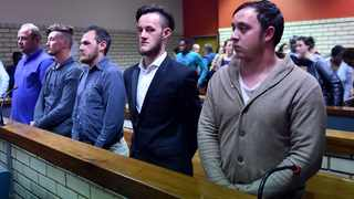 Stephan Nel, 39, Marius Harding, 23, DJ van Rooyen, 21, Ockert Muller, 20, and Joshua Scholtz, 21, at the Pretoria North Magistrate's Court. Picture: Bongani Shilubane/ANA
