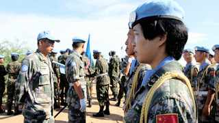 Chinese peacekeepers in the UN Mission to South Sudan on parade in the capital, Juba. Picture: Reuters