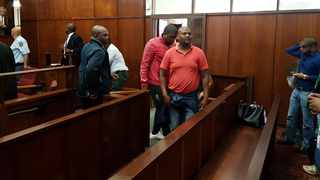 Khwezilomo  Madiba, Siphosenkosi Memela and John Khumalo are charged with public violence, pitch invasion and contravening the Safety at Sports Events Recreation Act appeared in the Durban Regional Court on Wednesday. Picture:  Mphathi Nxumalo