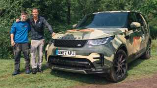 Bear Grylls at Hay Festival with 13-year-old Above and Beyond hero Blake Harris. Picture: Land Rover
