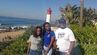 """Prudence Gwitirwa, Erica Ndoro and Kaycee """"The Big Homie"""" Butshe,  enjoy the view of the Umhlanga pier. They are in town for the Connecting Africa initiative. Picture: Clinton Moodley."""