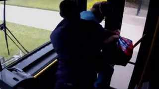 This screengrab shows Florida bus driver Terrence Barber wrestling with a passenger who refused to pay.