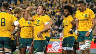 Wallabies skipper, Michael Hooper (centre), aims to avoid another slow start against teh All Blacks on Saturday. Photo: REUTERS/Jason Reed