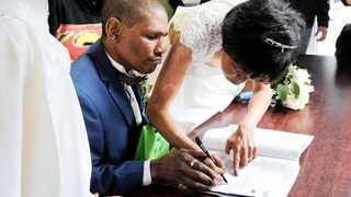 SIGNED AND DELIVERED: Llewellyn and Cecelia Jenniker, a homeless couple who have been dating for at least 30 years, finally tied the knot at Culemborg Safe Space, a homeless shelter on the Foreshore.Picture: Tracey Adams/African News Agency (ANA)