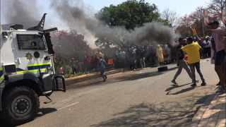 Students and police clash at the Tshwane University of Technology in Soshanguve. Picture: Sakhile Ndlazi
