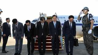 South Korean special envoys led by the chief of the national security office at Seoul's presidential Blue House, Chung Eui-yong, leave for Pyongyang from an airport in Sungnam city, South Korea. Picture: Yonhap via Reuters
