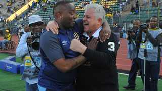 Benni McCarthy and John Comitis celebrate after Cape Town City beat Mamelodi Sundowns to reach the MTN8 final. Picture: Sydney Mahlangu/BackpagePix
