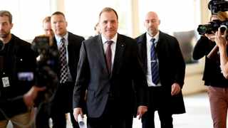 Swedish Prime Minister and Social Democratic Party leader Stefan Lofven (C) arrives for a news conference after meeting with the Speaker of Parliament in Stockholm. Picture: TT News Agency/Pontus Lundahl via Reuters