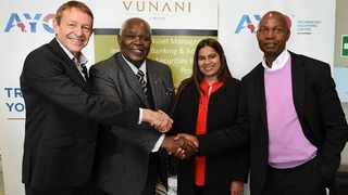From left: Mark Anderson executive director of the Vunani Group, Advocate Dr Wallace Mgoqi chairperson of AYO, Naahied Gamieldien, acting chief executive of AYO, with Ethan Dube, chairperson of the Vunani Group. Photo: Supplied