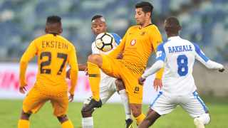 Leonardo Castro controls the ball for Kaizer Chiefs while under pressure from Thabo Rakhale of Chippa United. Photo: Samuel Shivambu/BackpagePix
