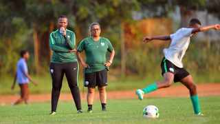 Coach Desiree Ellis (middle) keeping a watchful eye during a training session. Photo: @gsport4girls on twitter