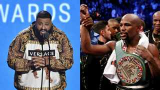 DJ Khaled and Floyd Mayweather. Pictures: AP and Reuters