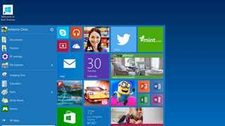 The start menu in Windows 10. Picture: Microsoft via AP