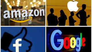 The logos of Amazon, Apple, Facebook and Google are seen in a combination photo from Reuters files. File picture: Reuters/File Photos