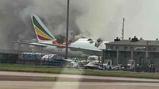 Ethiopian Airline's aircraft on fire in China. Picture: @FATIIIAviation/Twitter