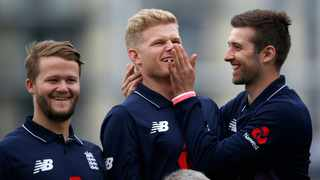 England's Sam Billings, middle and teammates playing around during a nets session. Photo: Paul Childs/Reuters