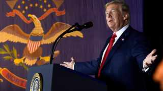 President Donald Trump speaks at a fundraiser in Fargo, North Dakota. Picture: Susan Walsh/AP