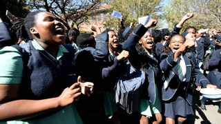 Pupils of Pretoria Girls High protest on the school premises on Monday. Picture: Phill Magakoe