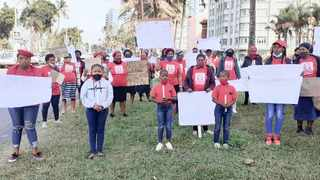 Members of the Abahlali baseMjondolo Women's League protested outside the Durban High Court yesterday where an alleged serial rapist was expected to appear. However the case was postponed to next month.