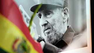 A photograph of Cuba's former president Fidel Castro is seen during a tribute ceremony following the announcement of the death of the revolutionary leader in La Paz, Bolivia, over the weekend. Picture: David Mercado/Reuters