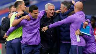 Tottenham's manager Jose Mourinho, center, celebrates at the end of their English Premier League soccer match against Palace at Selhurst Park in London on Sunday. Photo: Will Oliver/AP