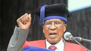Struggle icon Andrew Mlangeni being awarded honourary doctorates in (Public Administration) by the Cape Peninsula University of Technology. Photograph: Phando Jikelo/African News Agency(ANA)