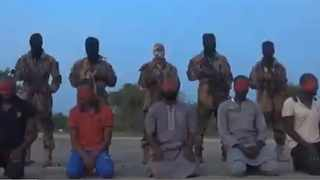 Boko Haram militants filmed the execution of five Nigerian aid workers. Picture: Screengrab from Boko Haram video