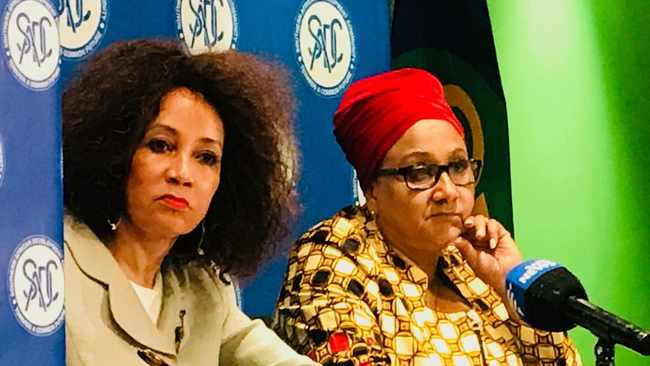 South Africa's Foreign Affairs Minister Lindiwe Sisulu with SADC Executive Secretary, Dr Stergomena Lawrence Tax addressing media in Pretoria at the conclusion of a SADC Council of Ministers. Picture: Jonisayi Maromo/ANA