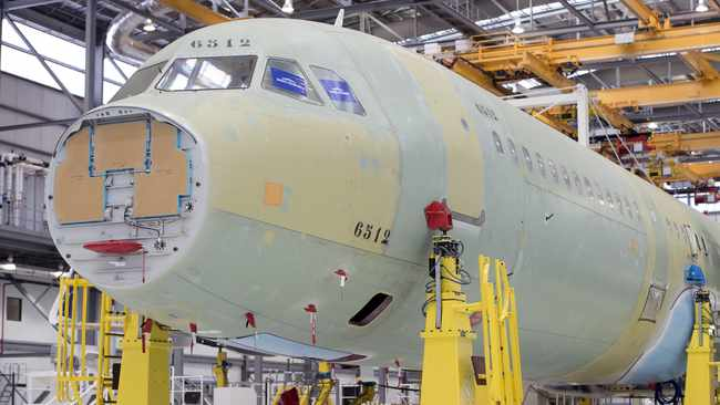 FILE PHOTO: An Airbus A321 in the final assembly line hangar at the Airbus U.S. manufacturing facility in Mobile, Alabama (REUTERS)