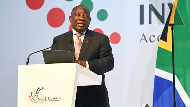 "President Cyril Ramaphosa delivers opening address at the second South Africa Investment Conference held from November 5 to 7 2019 at the Sandton Convention Centre in Johannesburg.  The conference is under the theme ""Accelerating Growth by Building Partnerships"".  The annual conference is a key milestone in the country's bold ambition to raise R1.2 trillion in new domestic and international investment over the next five years. 06/11/2019. Jairus Mmutle/GCIS"