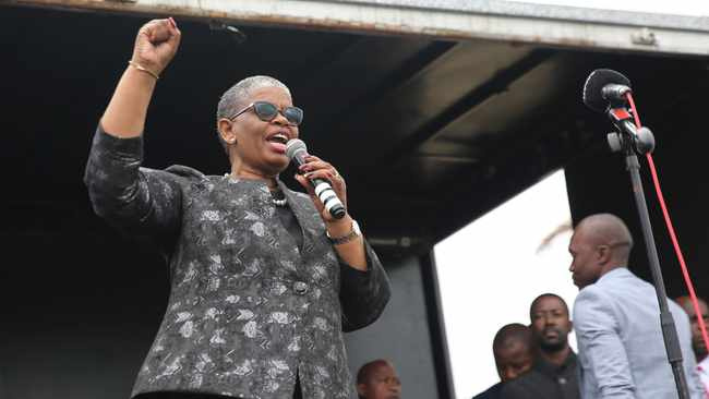 eThekwini Mayor Zandile Gumede addressing her supporters after her appearance in the Regional Commercial Crimes Court in Durban. File picture: Motshwari Mofokeng/African News Agency(ANA)