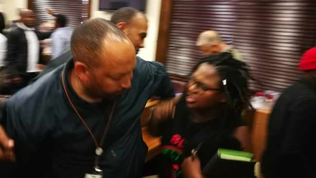 Members of Black First Land First (BLF) were forcefully ejected from Parliament on Tuesday after disrupting a meeting of the home affairs portfolio committee. PHOTO: Chantall Presence/ANA
