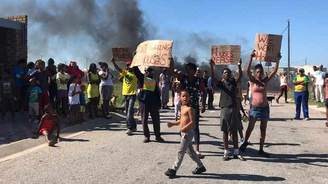 Residents from Malabar Extension Six in Port Elizabeth are protesting against an order to relocate to a different site in the city. Picture: Raahil Sain/ANA