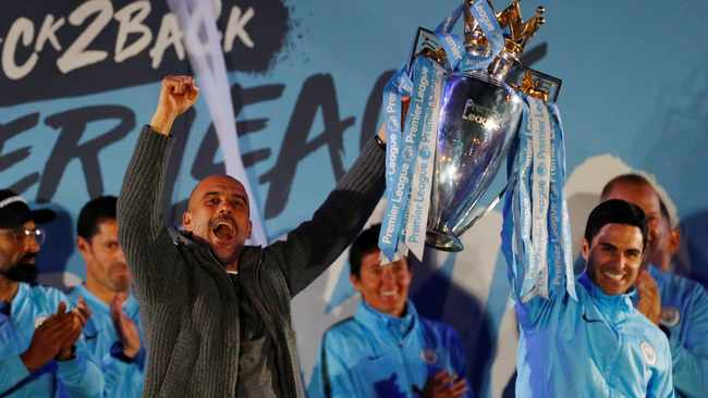 Pep Guardiola and his Manchester City team will begin their Premier League title defence away from home against West Ham. Photo: Phil Noble/Reuters