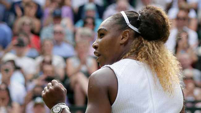 United States' Serena Williams celebrates defeating Czech Republic's Barbora Strycova which saw her reach the Wimbledon final. Photo: Tim Ireland/AP Photo