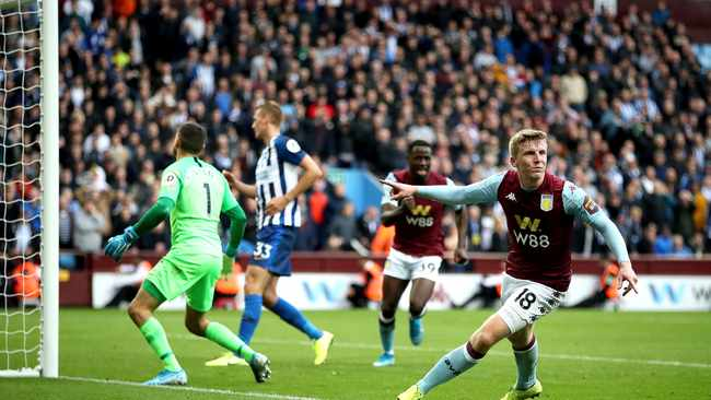 Aston Villa's Matt Targett celebrates scoring his side's second goal during their Premier League match against Brighton and Hove Albion at Villa Park on Saturday. Photo: Nick Potts/AP