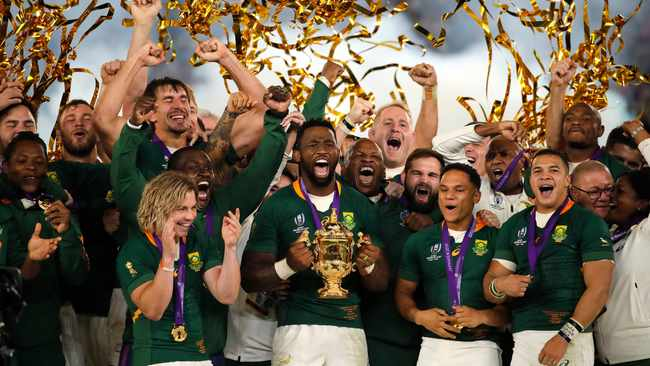 South African captain Siya Kolisi holds the Webb Ellis Cup after South Africa defeated England to win the Rugby World Cup final on Saturday. Photo: Christophe Ena/AP