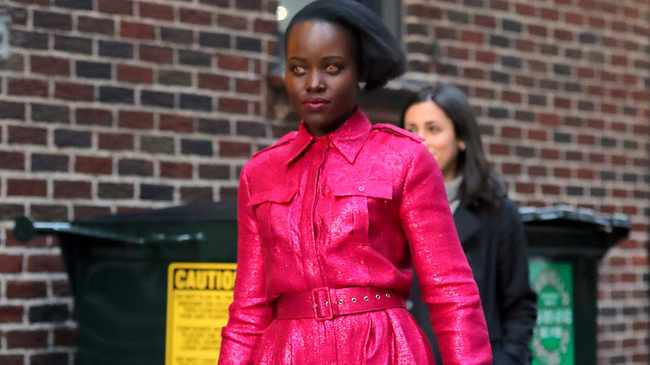 Lupita Nyong'o made an appearance at 'The Late Show with Stephen Colbert' on March 18, 2019 in New York City. Pic: Bang Showbiz  BANG MEDIA INTERNATIONAL FAMOUS PICTURES 28 HOLMES ROAD LONDON NW5 3AB UNITED KINGDOM tel +44 (0) 02 7485 1005 email: pictures@famous.uk.com