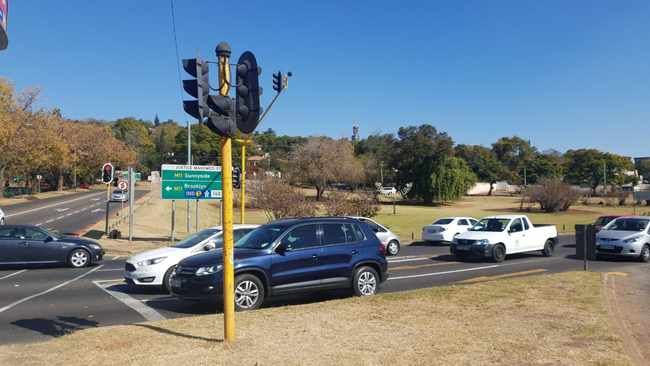 An intersection bordering Magnolia Park in Muckleneuk where another homeless man was found stabbed to death. Picture: Goitsemang Tlhabye