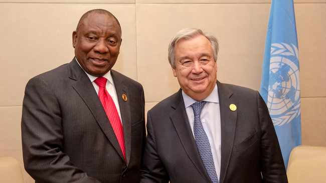 President Cyril Ramaphosa with United Nations Secretary General António Guterres. File picture: GCIS